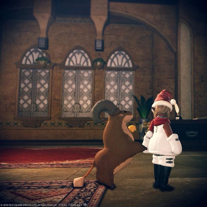 ねこずきん「サンタの仕事に行ってくるよ。」 ゴート「僕もソリひくよ!!」
