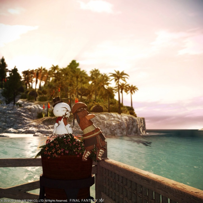桟橋で釣りをするポコさんた。